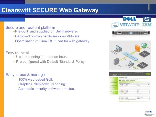 Clearswift SECURE Web Gateway Secure and resilient platform     –Pre-built and supplied on Dell hardware.     –Deployed on...