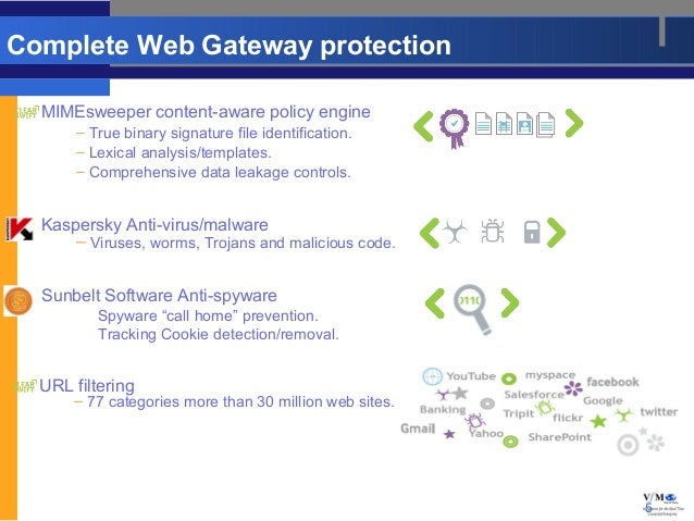 Complete Web Gateway protection  MIMEsweeper content-aware policy engine      – True binary signature file identification....