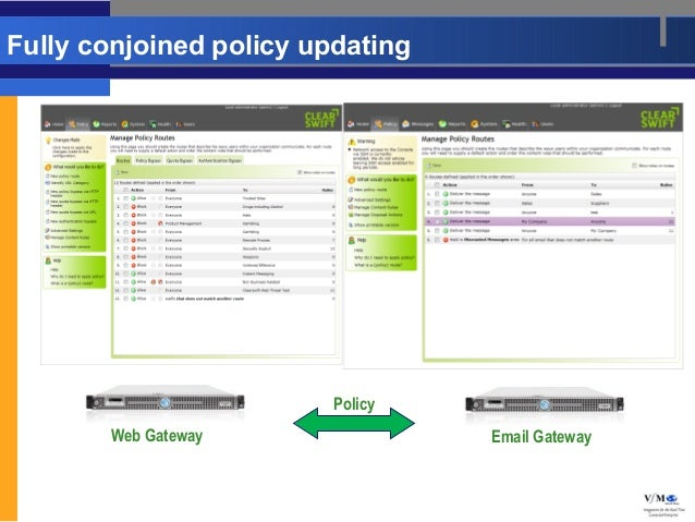 Fully conjoined policy updating                         Policy       Web Gateway                Email Gateway