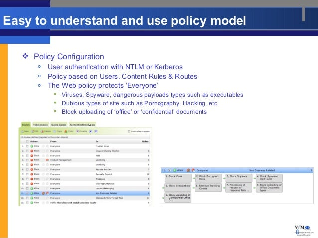 Easy to understand and use policy model    Policy Configuration          User authentication with NTLM or Kerberos      ...