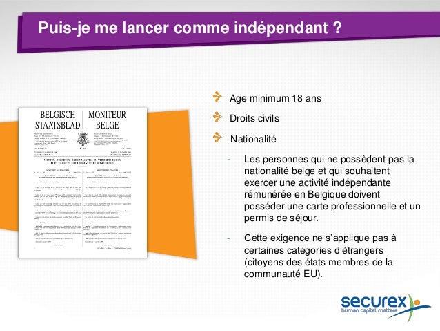 Comment me lancer comme indépendant ?  Société  Personne physique Faibles coûts de création Avantages fiscaux Pas de capit...