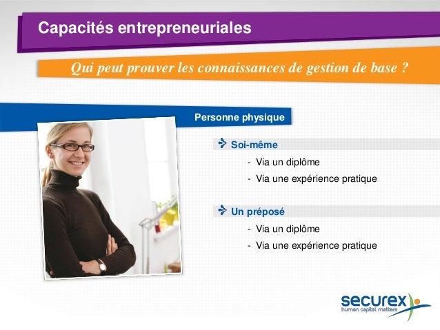 Capacités entrepreneuriales  Personne morale Organe de la société Travailleur chargé de la gestion journalière  -SPRL : gé...