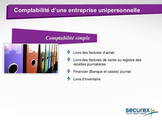 Comptabilité Livre des factures d'achat Livre des factures de vente ou registre des recettes journalières Livre d'inventai...