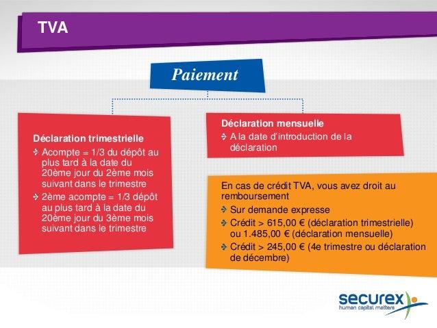 Impôts Paiement préalable Le résultat imposable est défini à l'aide de la comptabilité TVA Pour une entreprise unipersonne...