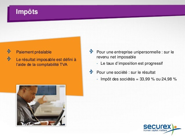 Conclusion Cotisations sociales (22 %) : 11.000,00 € Impôt des personnes physiques : 15.195,34 € Revenu net imposable : 50...
