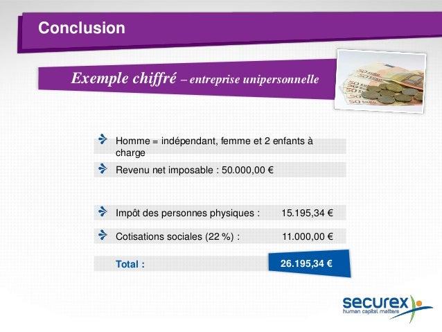 Conclusion  Exemple chiffré  – société Rémunération du gérant = 30.000,00 € Homme = indépendant, femme et 2 enfants à char...