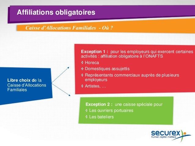 Affiliations obligatoires  Caisse de vacances  Où? Caisse spécifique au secteur (caisse de vacances construction, caisse d...