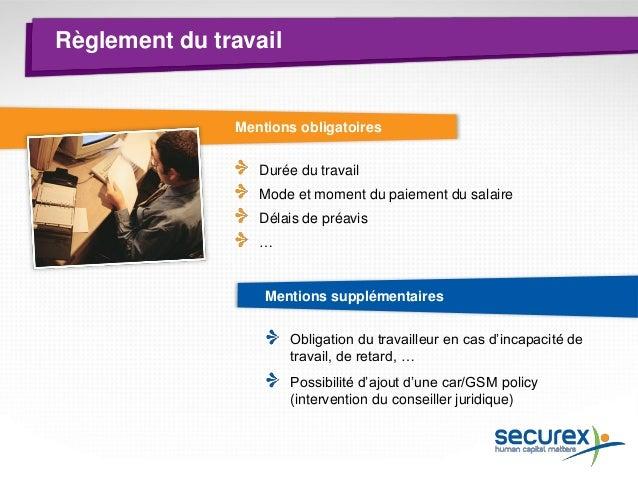 Règlement du travail  Procédure (il n'y a pas de conseil d'entreprise) Afficher le projet de règlement de travail pendant ...