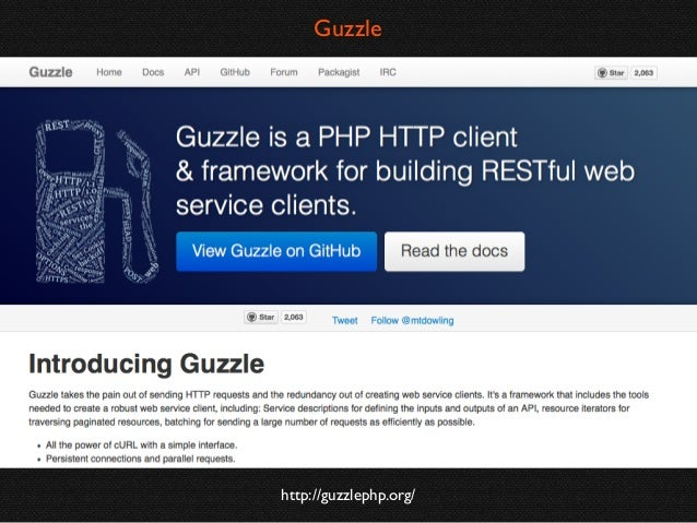 Using Guzzle  // A simple example GuzzleHttpStaticClient::mount(); $response = Guzzle::get('http://guzzlephp.org');  // A ...