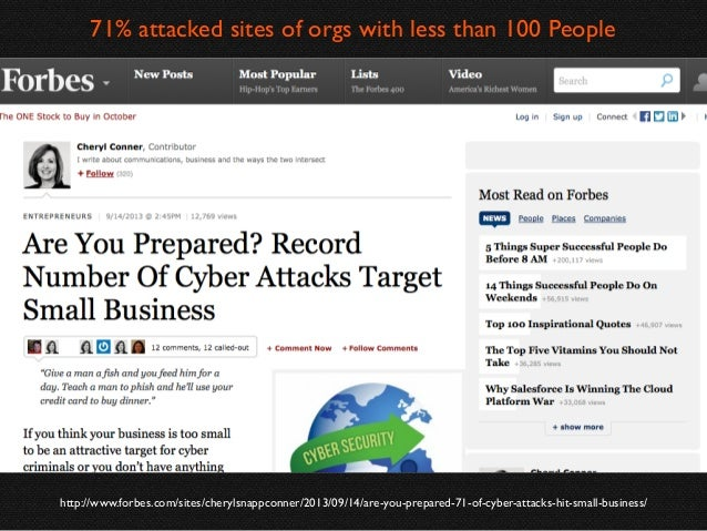 71% attacked sites of orgs with less than 100 People  http://www.forbes.com/sites/cherylsnappconner/2013/09/14/are-you-pre...