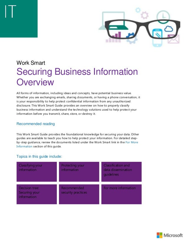 Work Smart Securing Business Information Overview All forms of information, including ideas and concepts, have potential b...