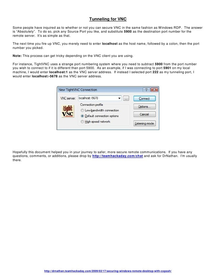 Securing Windows Remote Desktop With Copssh