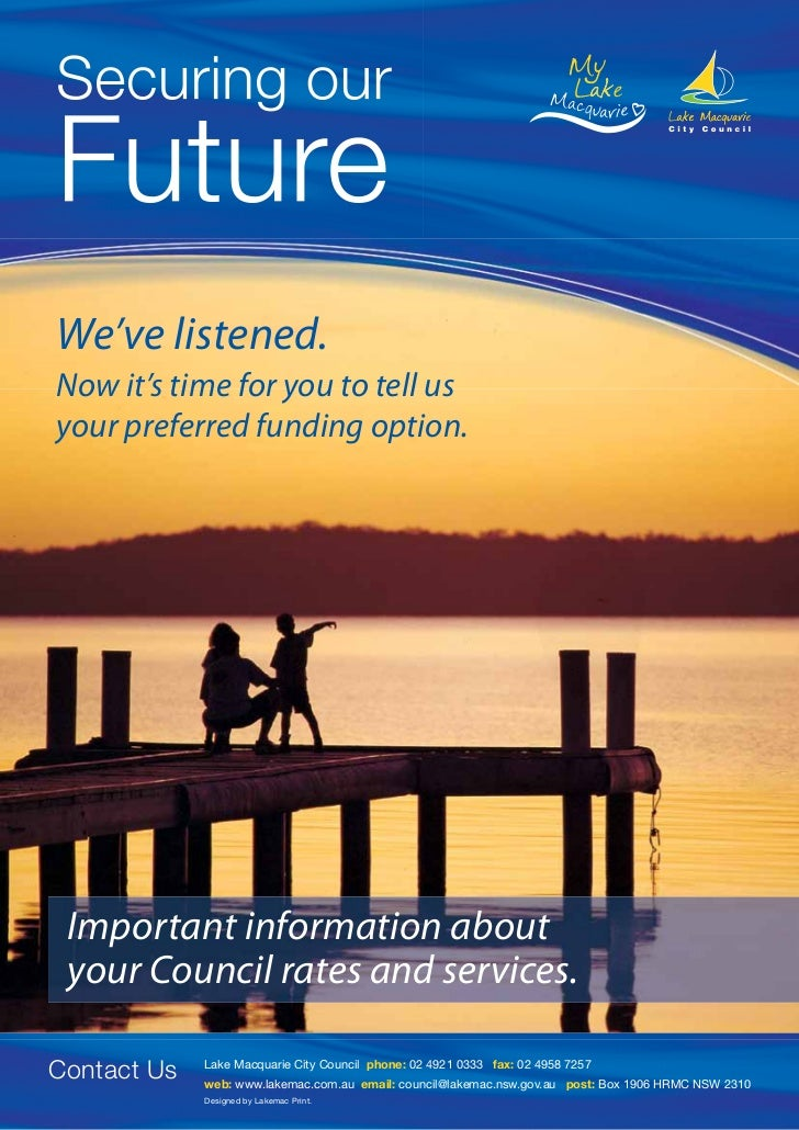 We've listened.Now it's time for you to tell usyour preferred funding option. Important information about your Council rat...