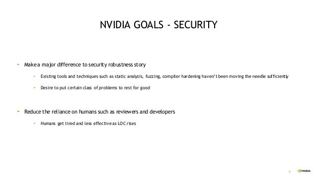 32 NVIDIA GOALS – SAFETY (ISO-26262) Ensure that new language, or tool Does not slow NVIDIA down on safety certification N...