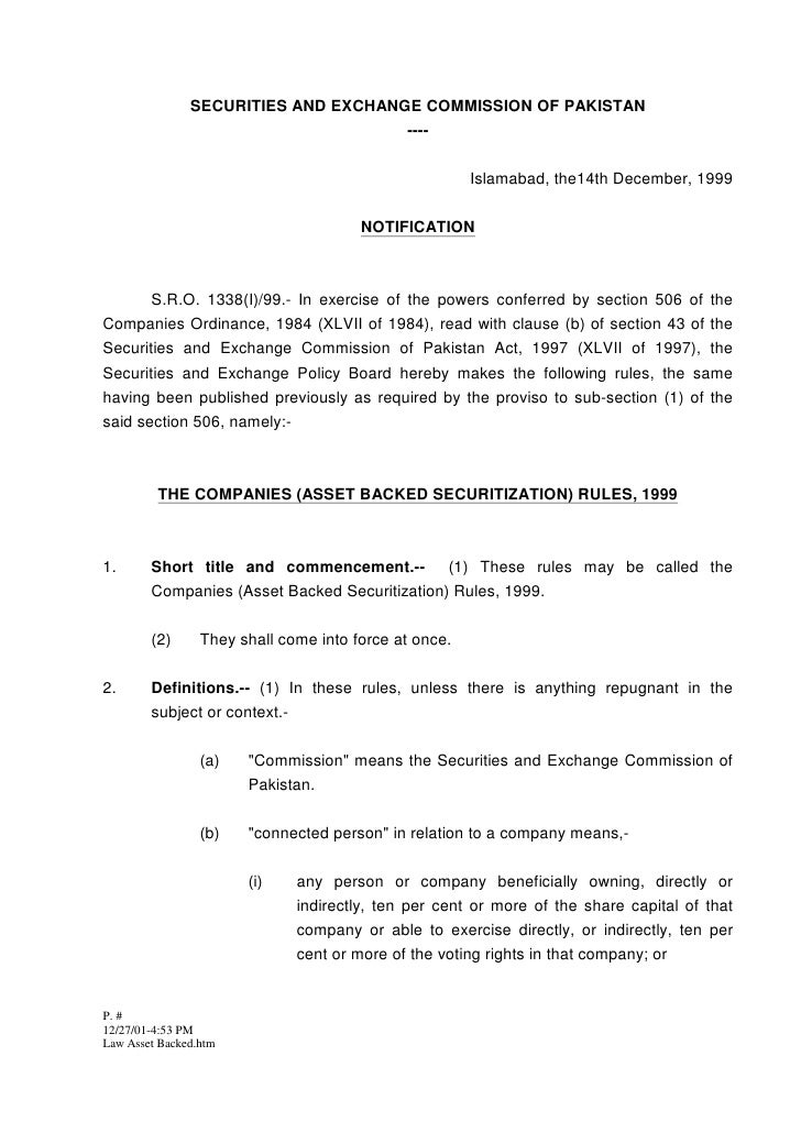 SECURITIES AND EXCHANGE COMMISSION OF PAKISTAN                                      ----                                  ...