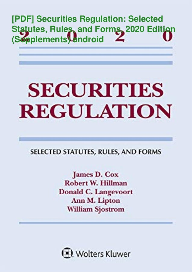[PDF] Securities Regulation: Selected Statutes, Rules, and Forms, 2020 Edition (Supplements) android