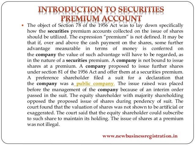 Securities premium account Slide 2