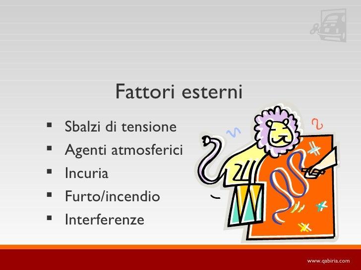 Fattori esterni    Sbalzi di tensione    Agenti atmosferici    Incuria    Furto/incendio    Interferenze             ...