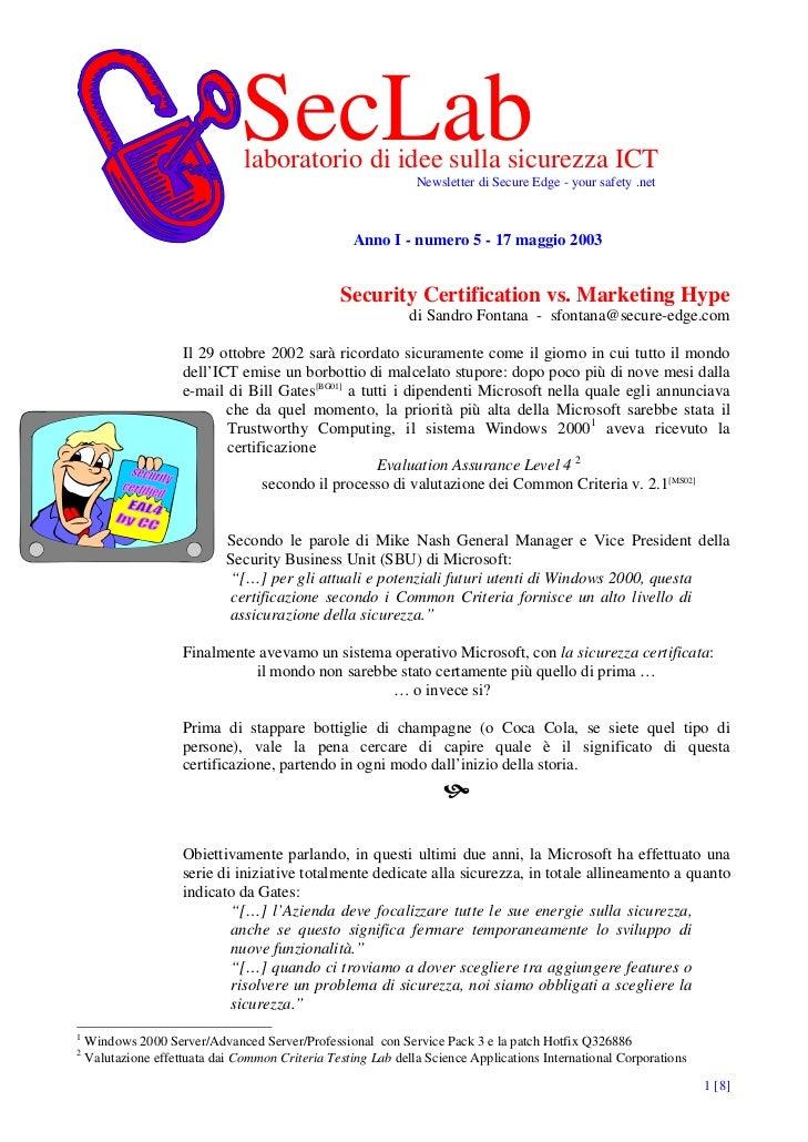 SecLab                                laboratorio di idee sulla sicurezza ICT                                             ...