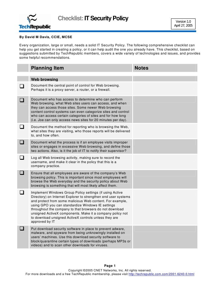 Security policy checklist for Computer security policy template