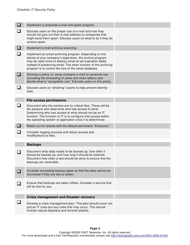 Security policy checklist for Cctv checklist template