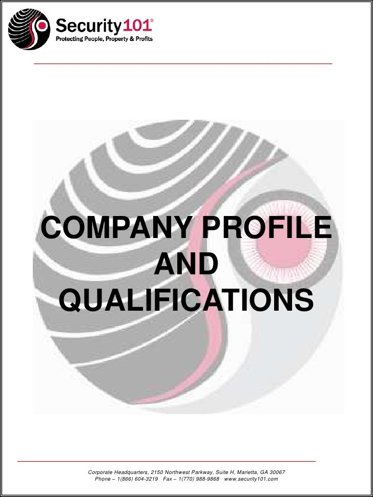 security company profile template - security 101 summary of qualifications
