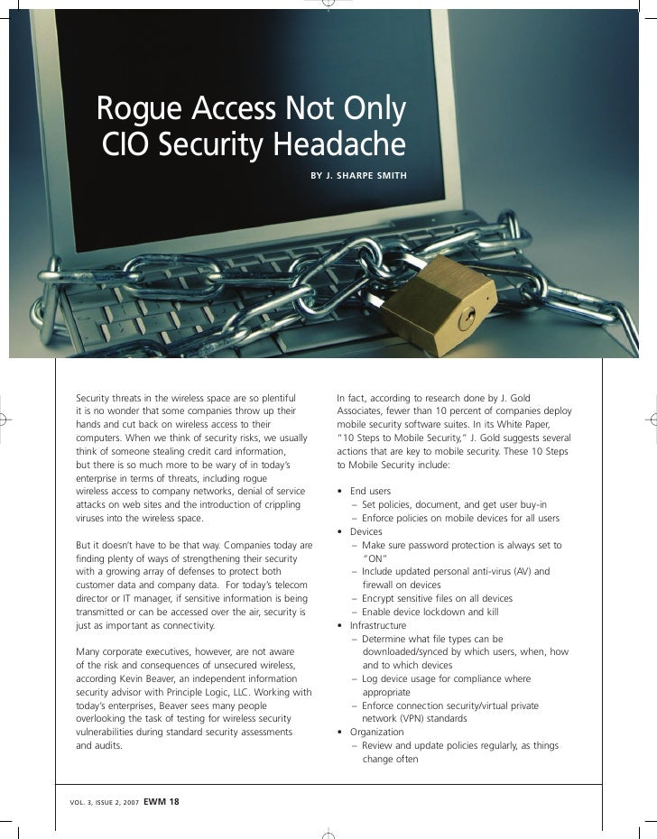 Rogue Access Not Only        CIO Security Headache                                                            BY J. SHARPE...