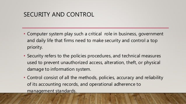 types of controls in information systems