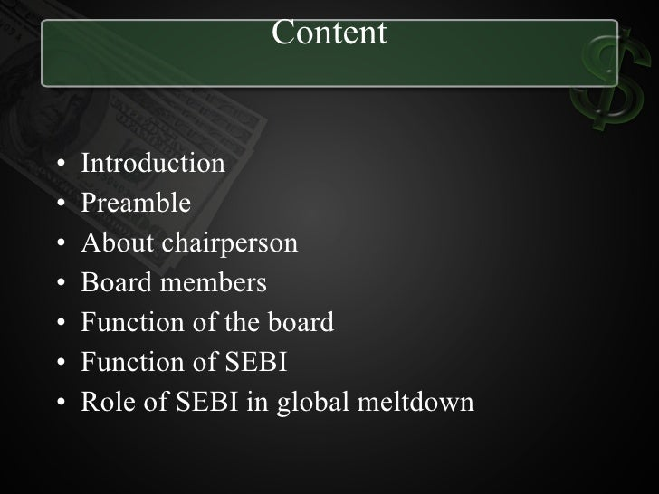 role of sebi Sebi functions and roles pdf read this article to learn about the purpose, objective and functions of sebi purpose and role of sebi: sebi was set up with theexchange.