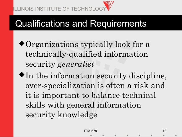 ITM 578 12 ILLINOIS INSTITUTE OF TECHNOLOGY Qualifications and Requirements Organizations typically look for a technicall...