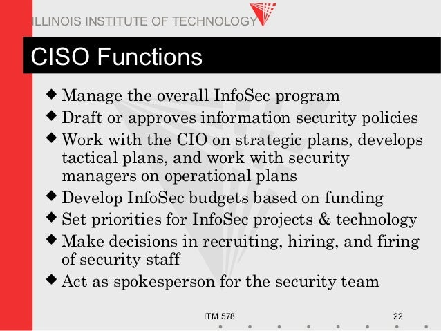 ITM 578 22 ILLINOIS INSTITUTE OF TECHNOLOGY CISO Functions  Manage the overall InfoSec program  Draft or approves inform...