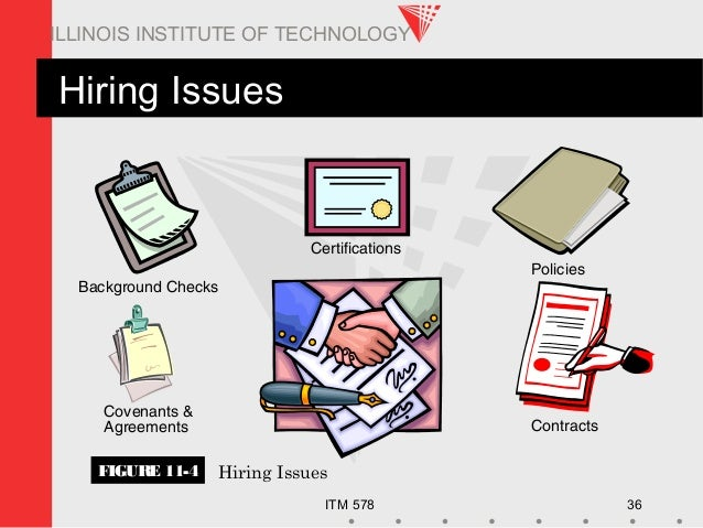 ITM 578 36 ILLINOIS INSTITUTE OF TECHNOLOGY Hiring Issues FIGURE 11-4 Hiring Issues Certifications Background Checks Coven...