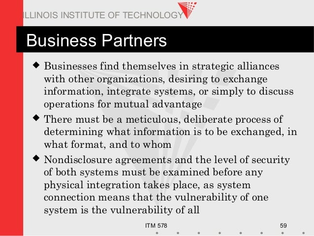 ITM 578 59 ILLINOIS INSTITUTE OF TECHNOLOGY Business Partners  Businesses find themselves in strategic alliances with oth...