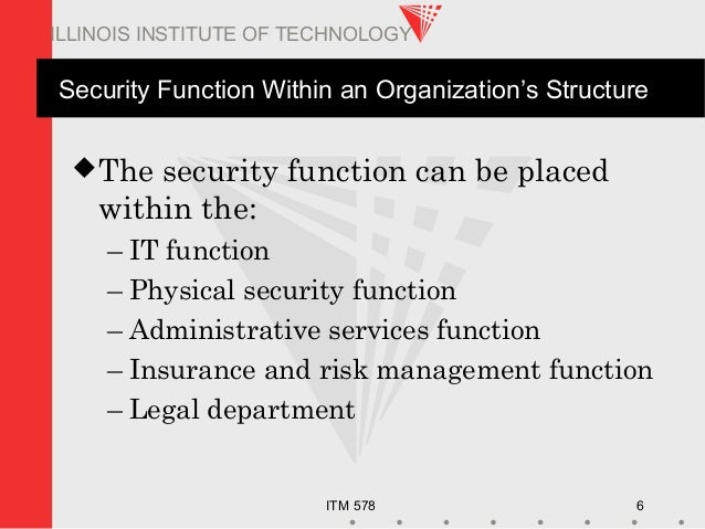 ITM 578 6 ILLINOIS INSTITUTE OF TECHNOLOGY Security Function Within an Organization's Structure The security function can...