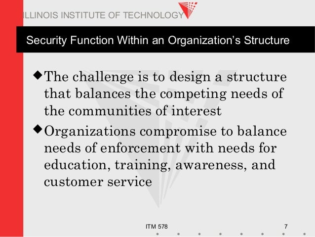 ITM 578 7 ILLINOIS INSTITUTE OF TECHNOLOGY Security Function Within an Organization's Structure The challenge is to desig...