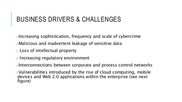 BUSINESS DRIVERS & CHALLENGES oIncreasing sophistication, frequency and scale of cybercrime oMalicious and inadvertent lea...