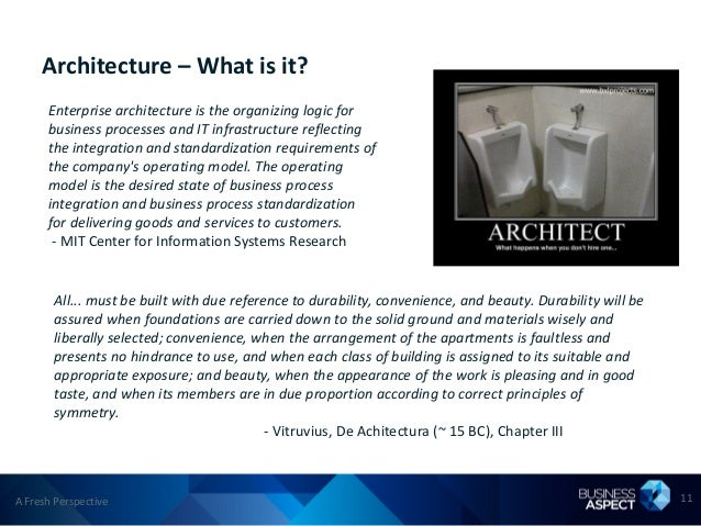 Architecture – What is it?      Enterprise architecture is the organizing logic for      business processes and IT infrast...
