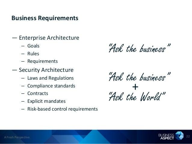 Business Requirements     — Enterprise Architecture            – Goals            – Rules                                 ...