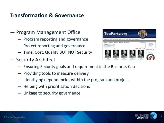Transformation & Governance     — Program Management Office            – Program reporting and governance            – Pro...