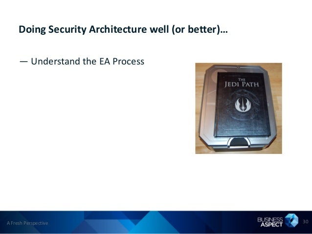 Doing Security Architecture well (or better)…     — Understand the EA ProcessA Fresh Perspective                          ...