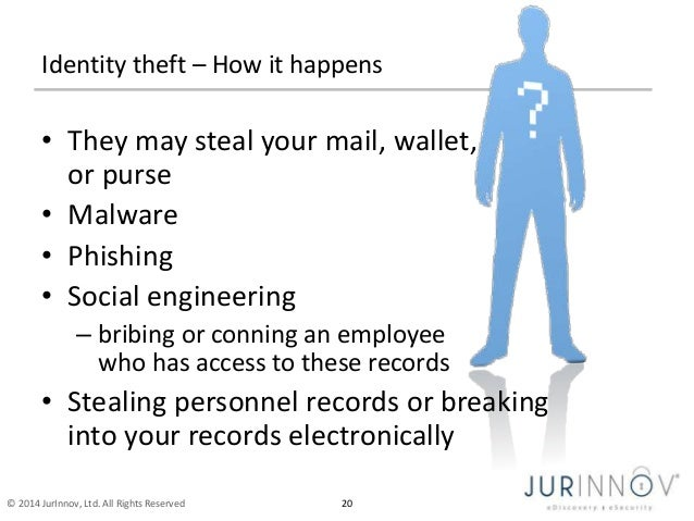 Identity theft – How it happens  • They may steal your mail, wallet,  or purse  • Malware  • Phishing  • Social engineerin...