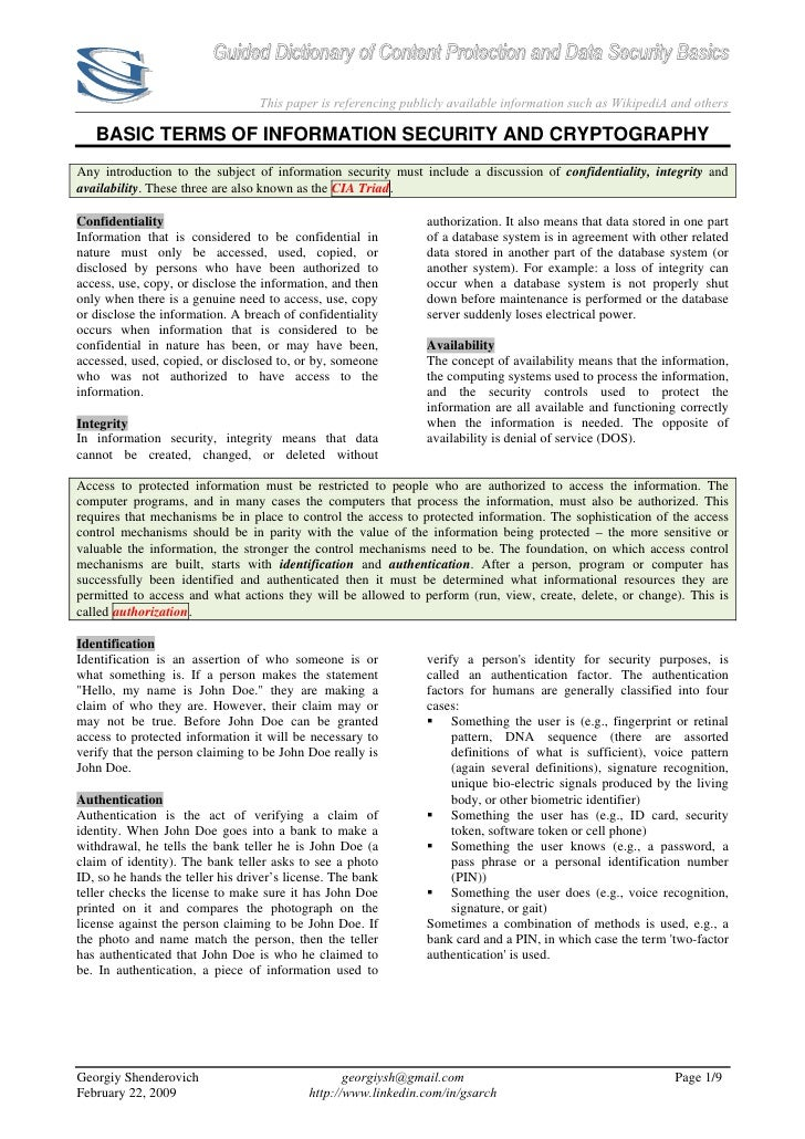 Guided Dictionary of Content Protection and Data Security Basics                                    This paper is referenc...