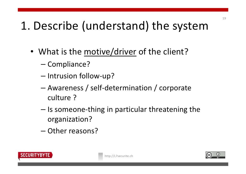 191. Describe (understand) the system • What is the motive/driver of the client?   – Compliance?   – Intrusion follow-up? ...