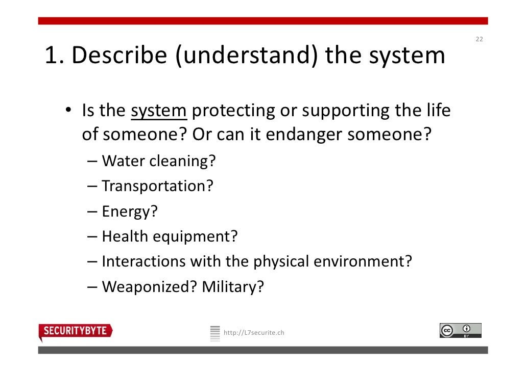 221. Describe (understand) the system • Is the system protecting or supporting the life   of someone? Or can it endanger s...