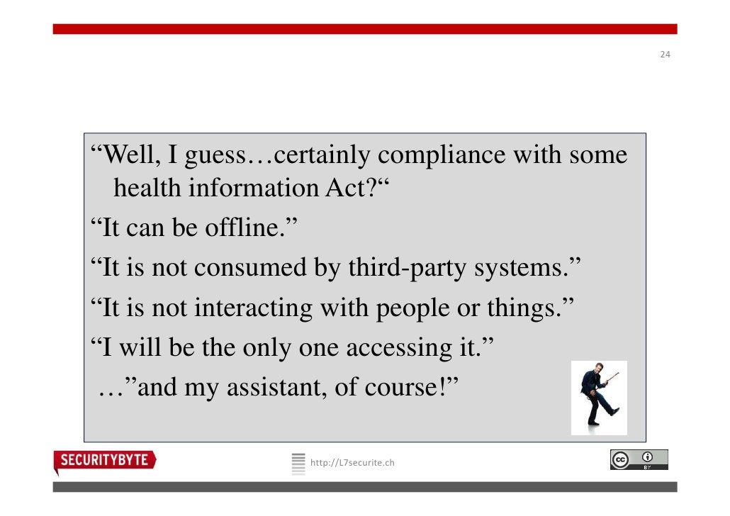 """24""""Well, I guess…certainly compliance with some  health information Act?""""""""It can be offline.""""""""It is not consumed by third-..."""