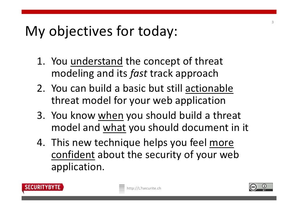 3My objectives for today: 1. You understand the concept of threat    modeling and its fast track approach 2. You can build...