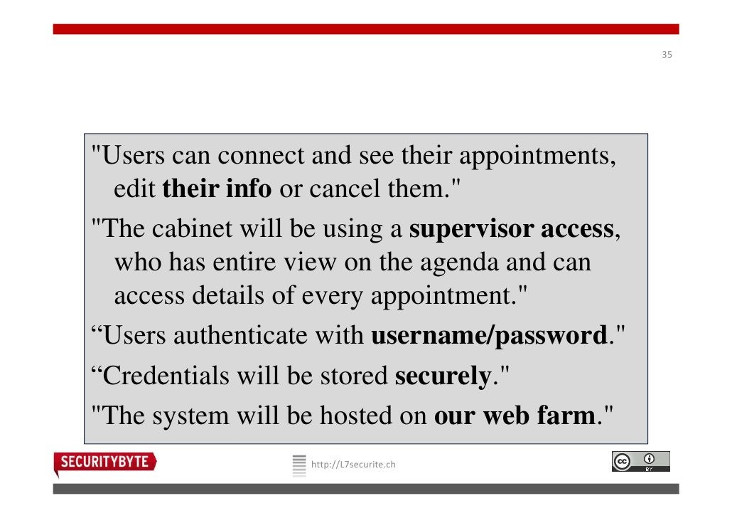 """35""""Users can connect and see their appointments,  edit their info or cancel them.""""""""The cabinet will be using a supervisor ..."""