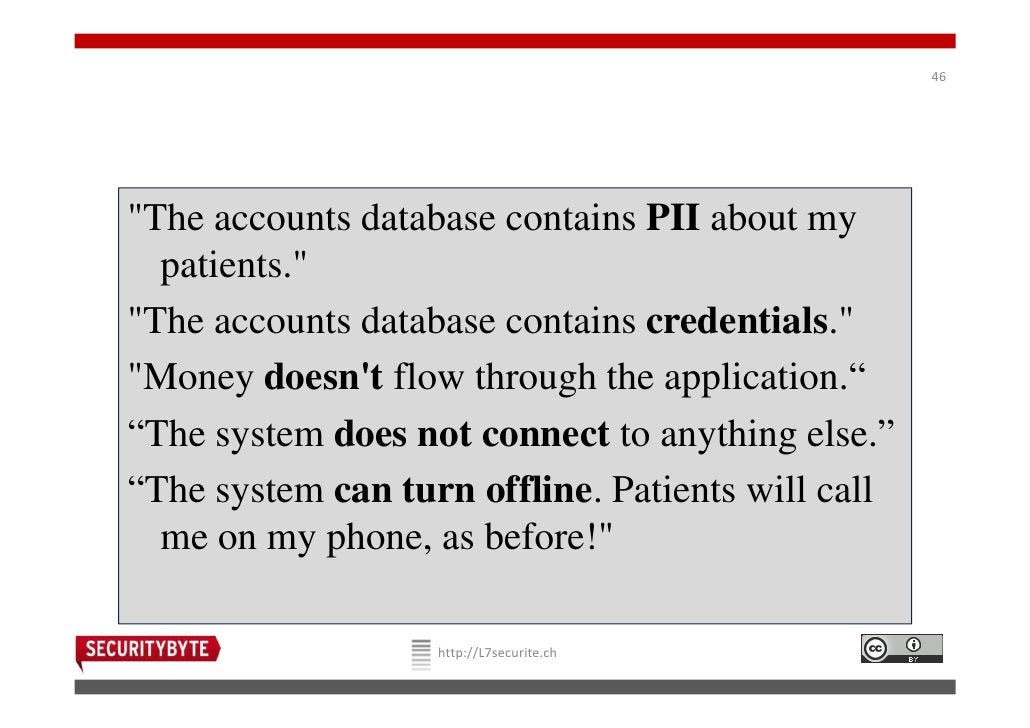 """46""""The accounts database contains PII about my  patients.""""""""The accounts database contains credentials.""""""""Money doesnt flow ..."""