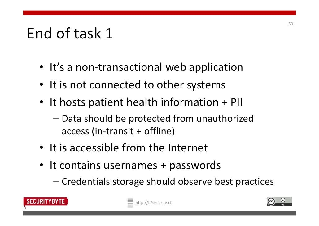 50End of task 1 • It's a non-transactional web application • It is not connected to other systems • It hosts patient healt...