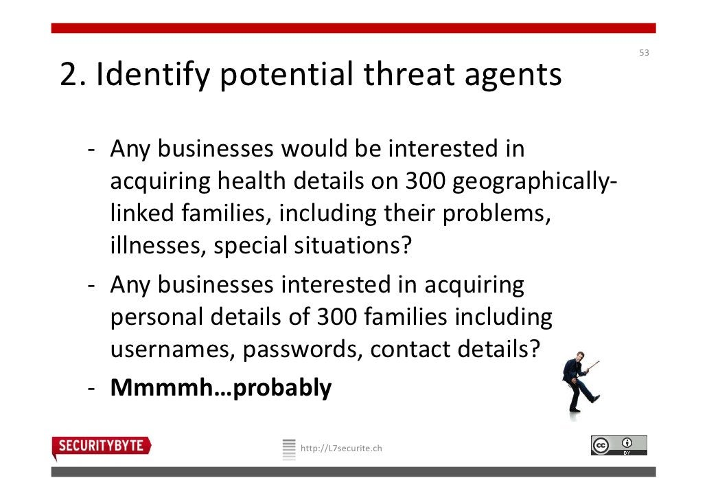 532. Identify potential threat agents - Any businesses would be interested in   acquiring health details on 300 geographic...